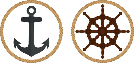 Sea theme. Anchor, rope, steering wheel