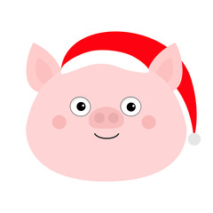 Pig piglet face in Santa red hat. Cute cartoon funny baby character. Hog swine sow animal. Chinise symbol of 2019 new year. Zodiac sign. Flat design. White background. Isolated.