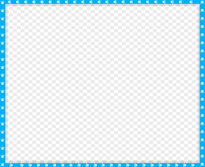 Vector cyan blue and white rectangle border of animal paws print isolated