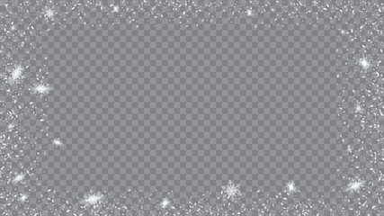 Snow Blizzard Effect. Festive illustration for christmas card. Bbright, White, Shimmer, Glowing, Scatter, Falling on a Transparent background.