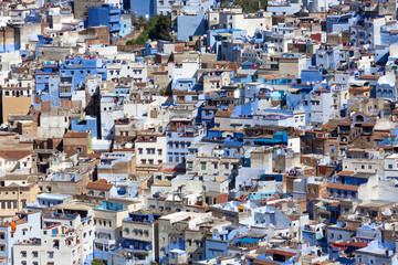 Detailed View of Chefchaouen from the hill of Jemaa Bouzafar Mosque, Morocco