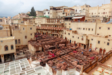 Men working hard in Chouara tannery souk in Fez, Morocco. The tannery souk of weavers is the most visited part of the 2000 years old city