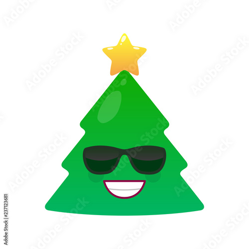 e92f1c1e37 Satisfied green fir tree with decoration emoji. Merry Christmas and happy  new year vector element. Happy face in sunglasses. Winter holidays symbol.