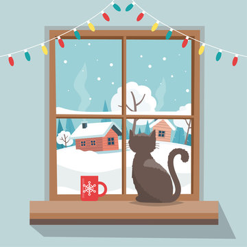 Christmas window with winter landscape, cat sitting on the window sill. Merry christmas greeting card template.