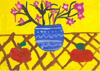 children drawing flowers and pot