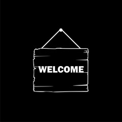 Welcome sign hanging icon or logo on dark background