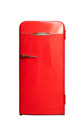 red big retro fridge isolated on white background