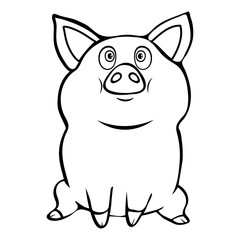 Cute funny pig linear hand drawing, cartoon character, vector black and white illustration, sticker, sign, symbol, design element, coloring, sketch, icon, outline picture isolated on white background