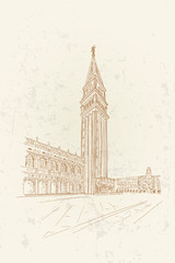 Wall Mural - sketch of San Marco square in Venice. Italy