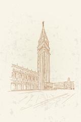 Fototapete - sketch of San Marco square in Venice. Italy
