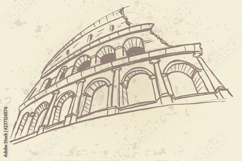 Wall mural Vector sketch of The Coliseum or Flavian Amphitheatre, Rome, Italy.