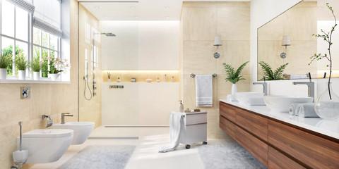Modern bathroom in soft beige color