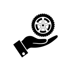 wheel in the hand icon, logo on white background