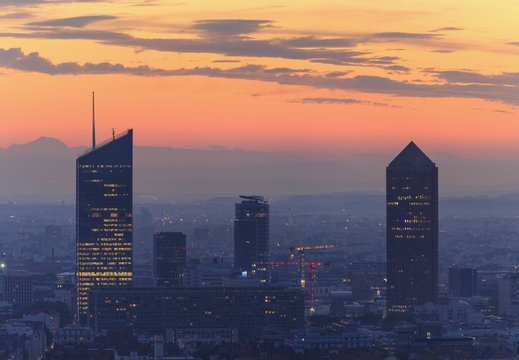 The city of Lyon during a colorful, autumn dawn. Lyon, France.