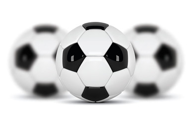 Realistic soccer balls or football ball on white background. set of three 3d Style  Ball isolated on white background. Football design.