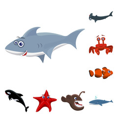 Vector design of sea and animal logo. Collection of sea and marine stock symbol for web.