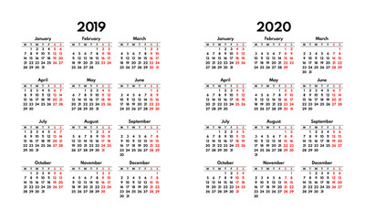 simple 2019 2020 calendar grid, starts monday, two weekend
