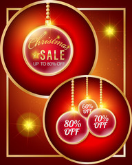 3D Christmas ball hanging sale promotional banner and gold frame with percent disconunt price tags on red background.
