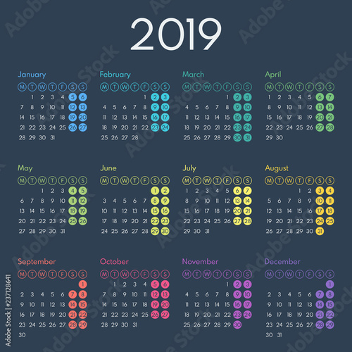 simple calendar 2019, starts monday, two weekend