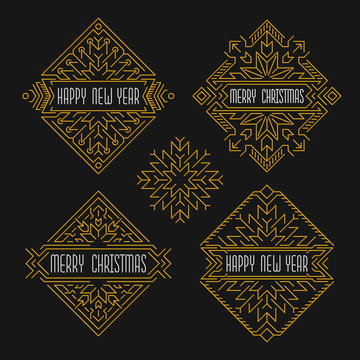 Merry Christmas and Happy New Year badges. Frames in outline style. Christmas banners with ornamental snowflakes in golden colors.