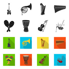 Vector design of music and tune logo. Collection of music and tool stock symbol for web.
