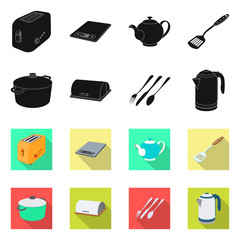 Vector illustration of kitchen and cook symbol. Set of kitchen and appliance vector icon for stock.