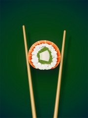 Sushi rolls with chopstick. Fast-food collection. Traditional