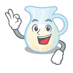 Okay Jug of milk isolated on mascot