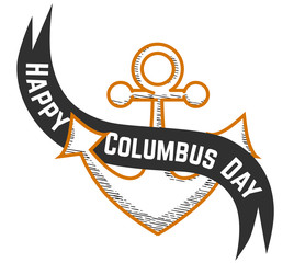 Happy Columbus Day logo sign with anchor symbol