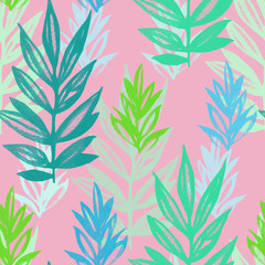 Floral seamless pattern colorful with spring leaves watercolor. Hand drawn illustration for textile, wallpaper, paper and decoration.
