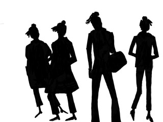 silhouette of models on the catwalk