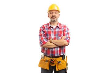 Fototapeta Builder portrait with proud expression. obraz