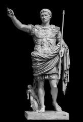 Fototapeta Roman emperor Augustus from Prima Porto statue isolated over black background obraz