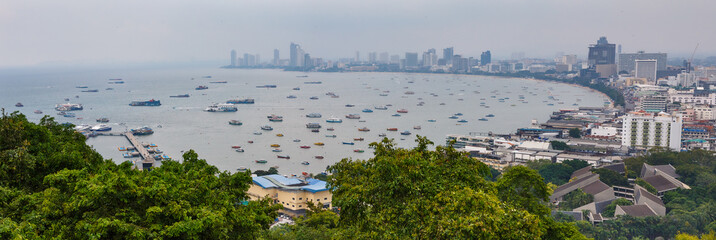 panorama view on pattaya harbor from the sign Pattaya