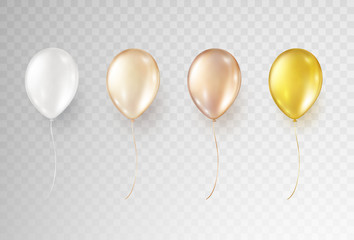 Balloons isolated on transparent background. Vector realistic helium golden rose, glossy gold and white  set of birthday baloons.