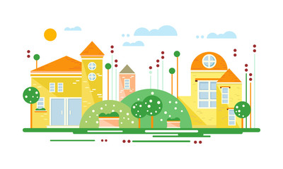 Cute real estate cottages, yellow residential buildings on suburban street at summer season vector Illustration