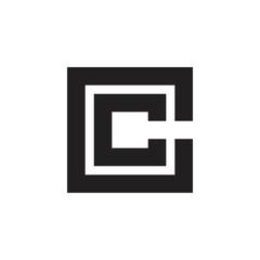letter cc square stripes logo