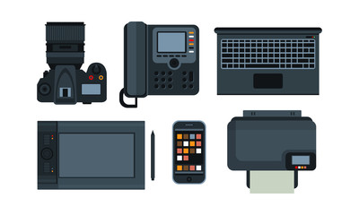 Office equipment, mobile devices icons set vector Illustration on a white background