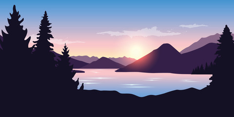 big river and forest nature landscape at sunrise in purple colors vector ilustration EPS10