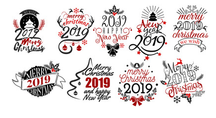 Merry Christmas and Happy New Year 2019 lettering text logo set Wall mural