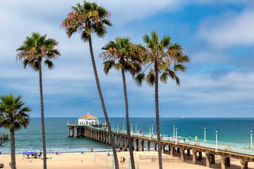 Los Angeles beach. Palm trees on Manhattan Beach in Los Angeles, California. Wall mural