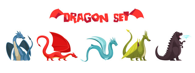 Dragons Monsters Cartoon Set