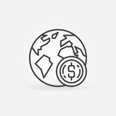 Earth with coin vector icon or symbol in thin line style