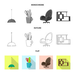 Isolated object of furniture and work logo. Set of furniture and home vector icon for stock.