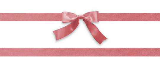 Rose gold bow ribbon band satin pink stripe fabric (isolated on white background with clipping path) for Valentines day holiday gift box, greeting card banner, present wrap design decoration ornament