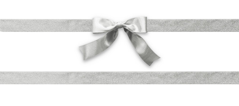 Silver bow ribbon band satin grey stripe fabric (isolated on white background with clipping path) for Christmas holiday gift box, greeting card banner, present wrap design decoration ornament