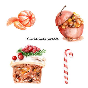 watercolor drawings on the theme of Christmas sweets