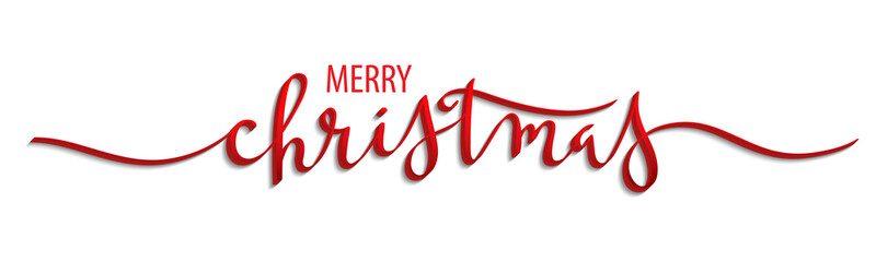 MERRY CHRISTMAS 3D brush calligraphy banner