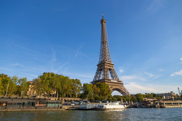 PARIS, FRANCE, SEPTEMBER 8, 2018 - The Eiffel Tower from the river Seine in a sunny day in Paris, France