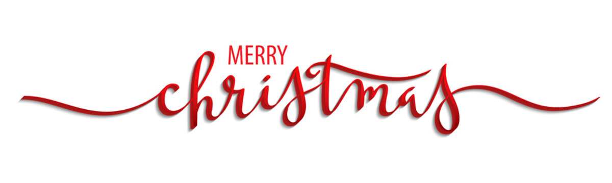 MERRY CHRISTMAS 3D brush calligraphy banner